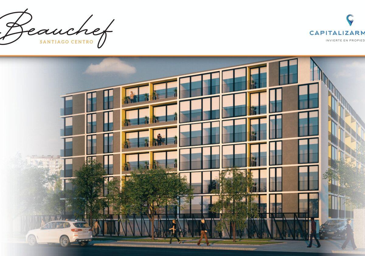 Edificio Beauchef | Santiago. Edificio de hormigón armado con departamentos de 1 y 2 dormitorios y otros tipo Studio. Ubicado cerca Estación Metro.